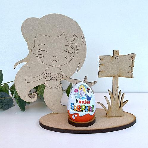 MDF Easter Egg Holder Stand Creme/Kinder Egg Mermaid