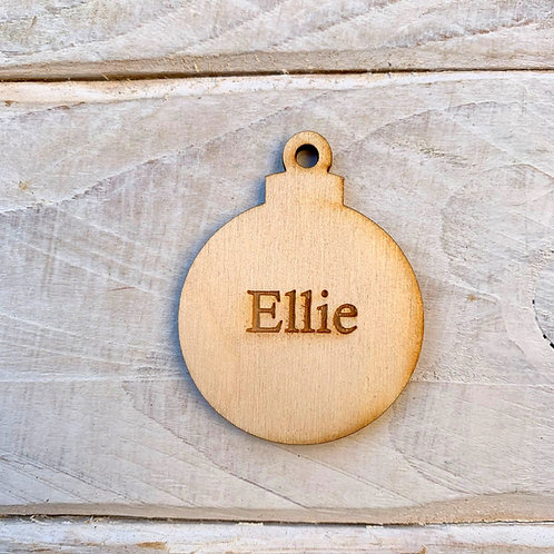 5cm Engraved Plywood Bauble with Hole