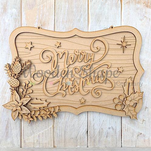 Layered Christmas Ornate Merry Christmas Sign