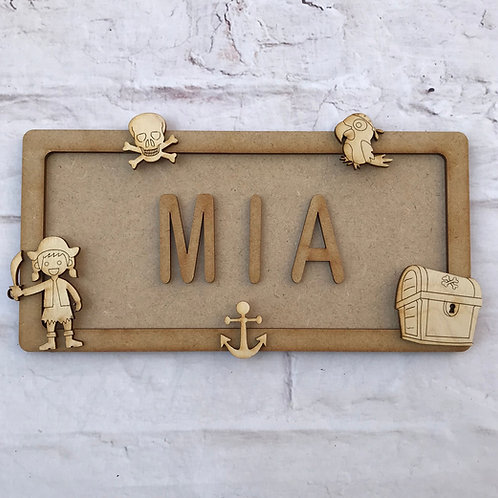 Pirate Girl Theme Room Sign Small (up to 6 letters)