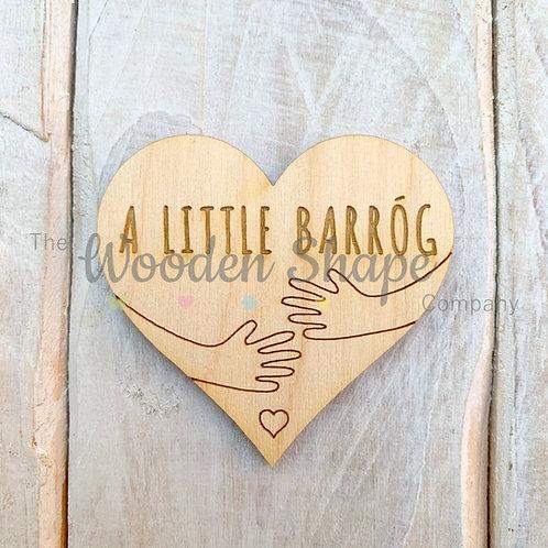 Plywood Engraved Heart A Little Barrog Token or Keyring 5 Pack