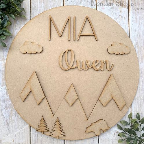 30cm MDF Circle Hoop with Name Mountain Theme