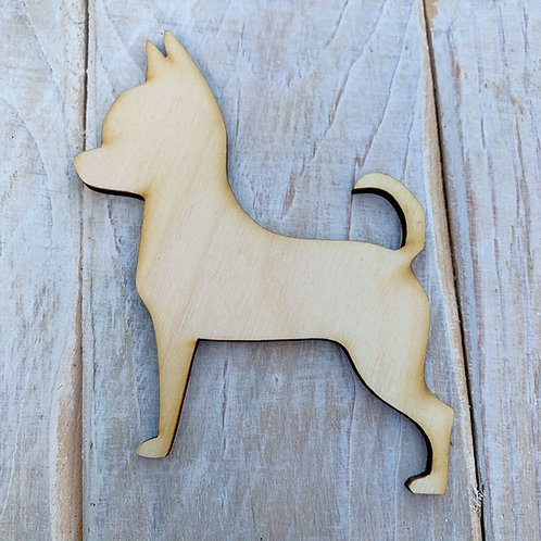 Plywood CHIHUAHUA Curly Tail DOG Shape 10 PACK