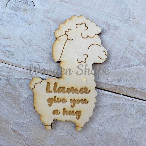 Plywood Engraved Llama Hug Little Pocket Hug 5 Pack