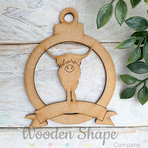 MDF Bauble Scottish Highland Cow with Banner