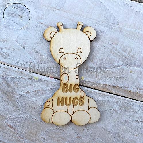 Plywood Engraved Giraffe Hug Little Pocket Hug 5 Pack