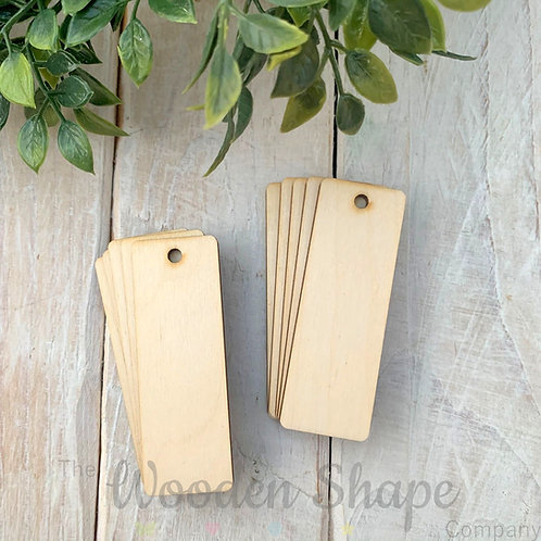 10 Pack Birch Plywood Key Rings Rectangle Thin