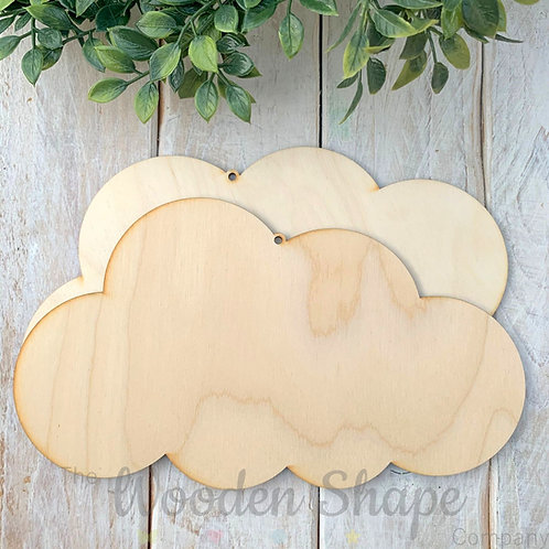 2 Pack Birch Plywood Plaque Cloud