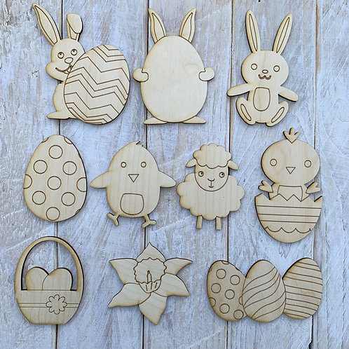 Plywood 10 Pack Assorted Easter Tree Decorations