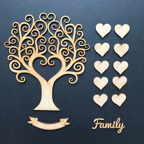 MDF Wooden Tree Code Curly Heart Kit 2 Size Options