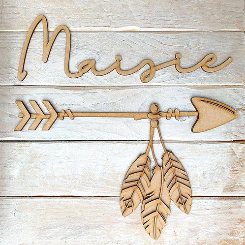 Layered Tribal Boho Arrow 30cm with Name