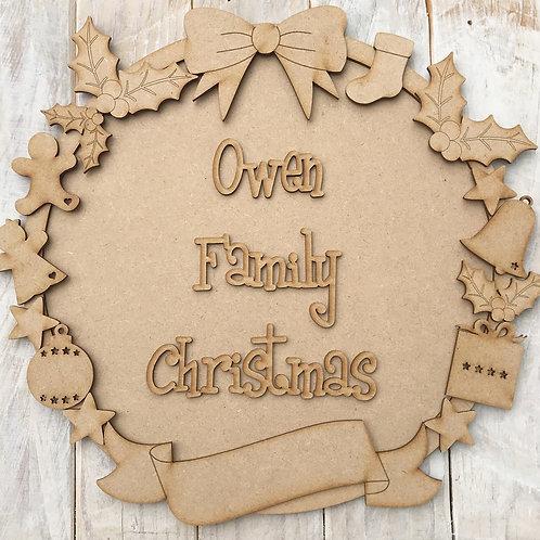 MDF Christmas Ring Layered Kit Decorations