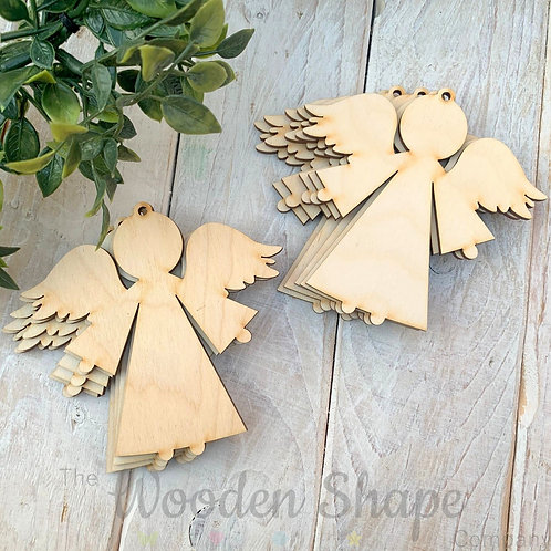 10 Pack Birch Plywood Christmas Tags Angels