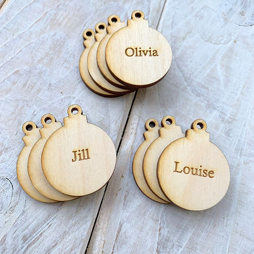 Engraved Plywood Christmas Bauble Tags