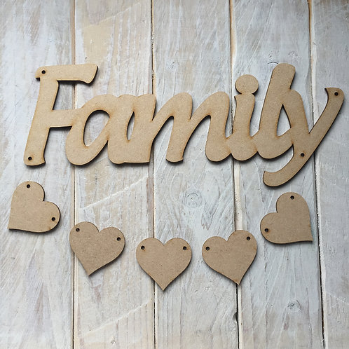 MDF Wood FAMILY Hanging Plaque with Hearts