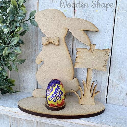 MDF Easter Egg Holder Stand Creme/Kinder Egg Bunny Side