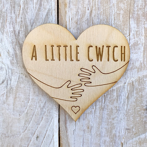 Plywood Engraved Heart A Little Cwtch Token or Keyring 5 Pack