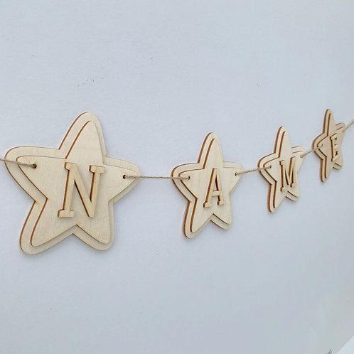 Plywood Layered Star Bunting