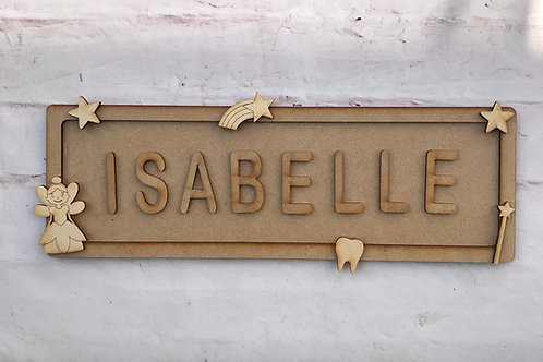 Tooth Fairy Theme Room Sign Large (up to 10 letters)