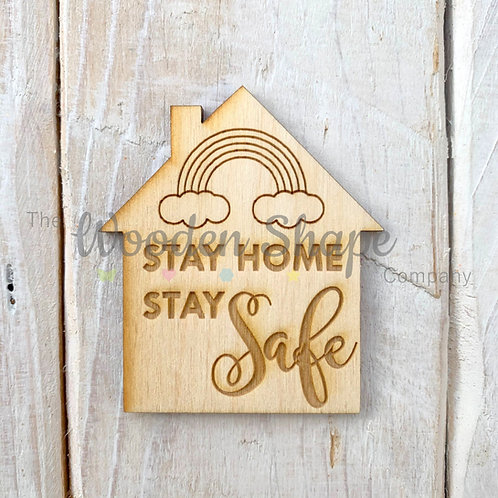 Plywood Engraved House Stay Home Stay Safe Token or Keyring 5 Pack