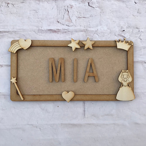 Princess Theme Room Sign Small (up to 6 letters)