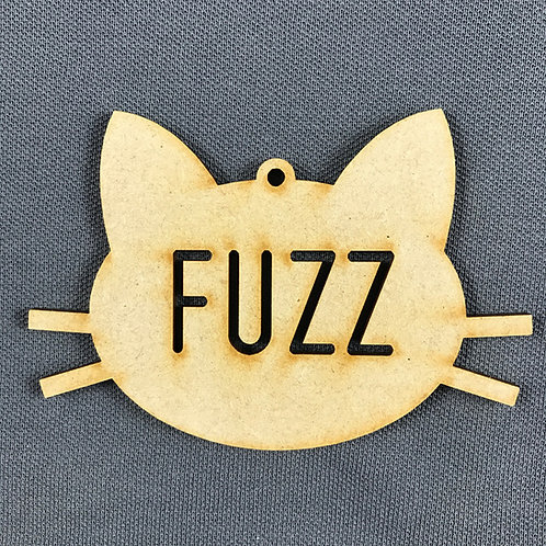 MDF Bauble Cat Face with Name Added