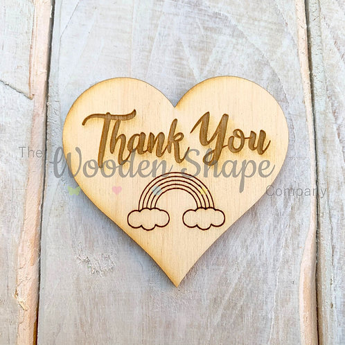 Plywood Engraved Heart Thank you Token or Keyring 5 Pack