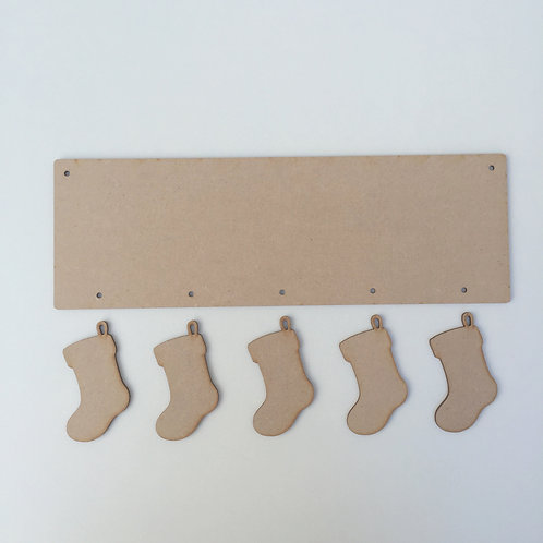 30cm x 10cm Plaque with Hanging Stockings