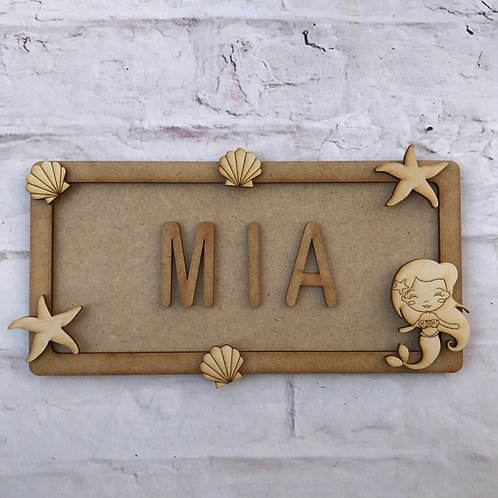 Mermaid Theme Room Sign Small (up to 6 letters)