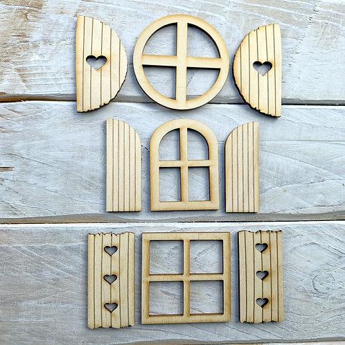 Fairy Door Window Shutter 3 Sets 9 Pieces