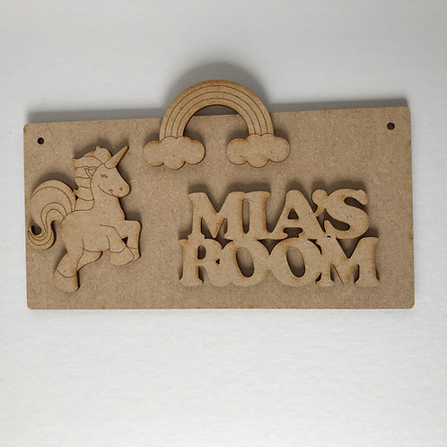 MDF Unicorn Room Sign Unicorn C