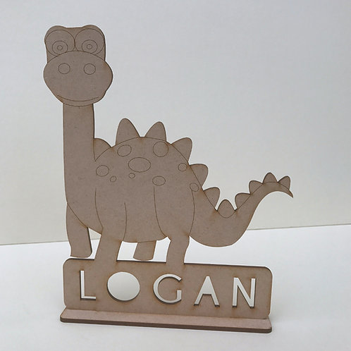 MDF Dinosaur on Stand with Name 3 Designs