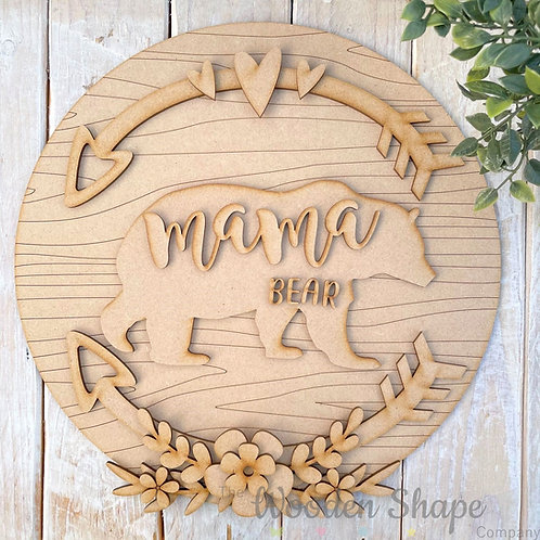 30cm MDF Circle Hoop Mama Bear