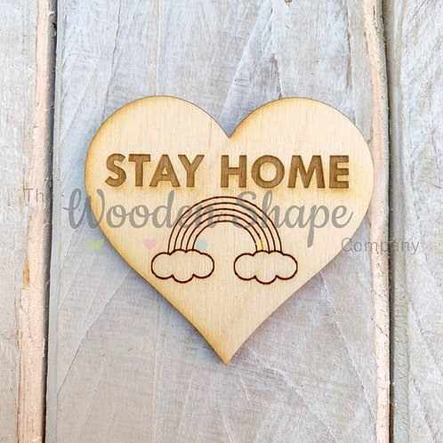 Plywood Engraved Heart Stay Home Token or Keyring 5 Pack