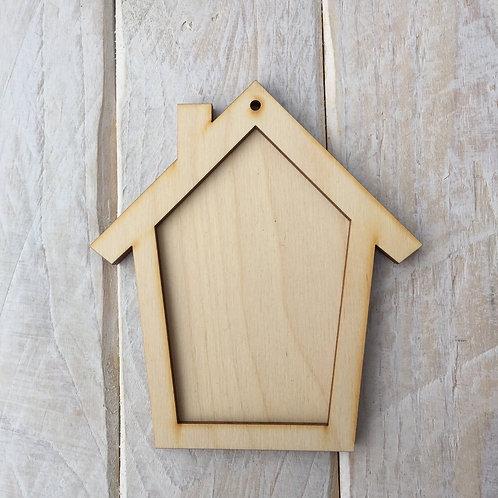 Plywood HOUSE Shape Plaque Frame Blank