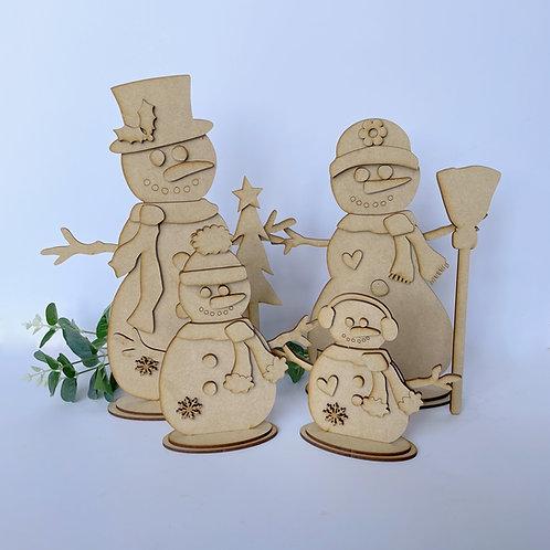 MDF Freestanding Snowman Family Various Sizes