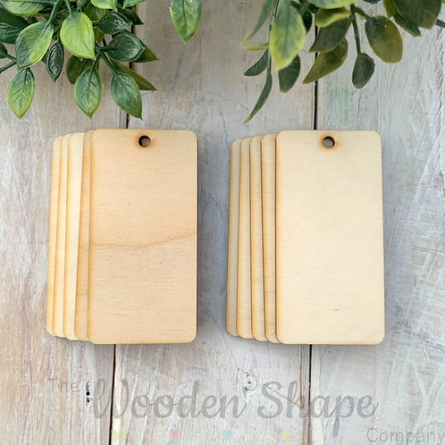 10 Pack Birch Plywood Key Rings Rectangle