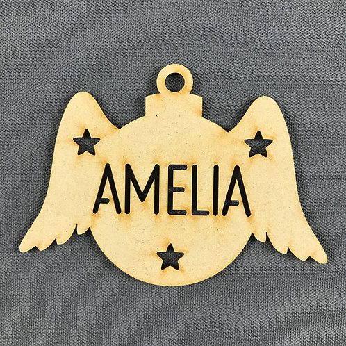 MDF Bauble Wings with Name Added