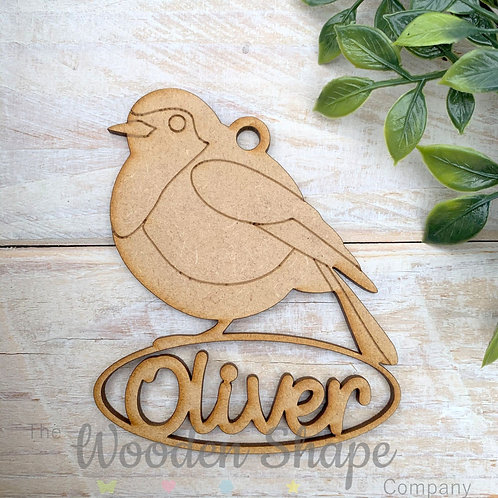 MDF Personalised Bauble Robin