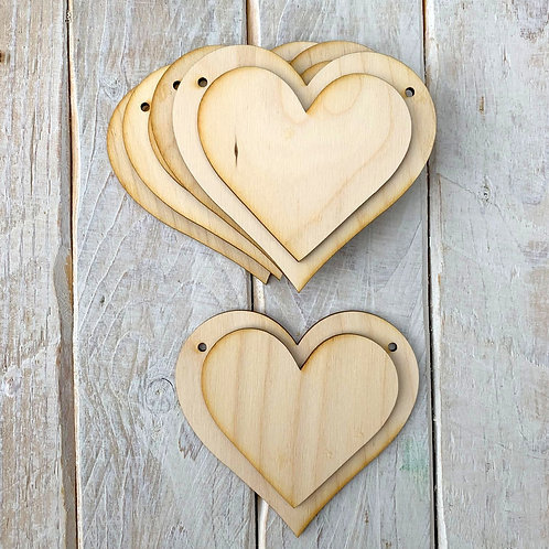 10 Pack Bunting Layered Heart