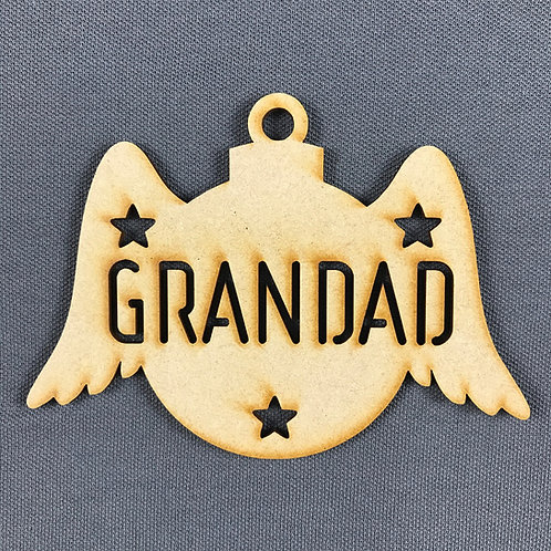 MDF Bauble Wings Grandad