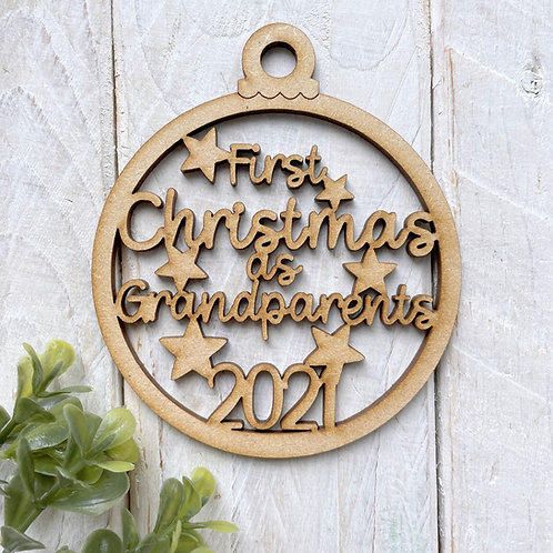 MDF Bauble First Christmas as Grandparents 2021