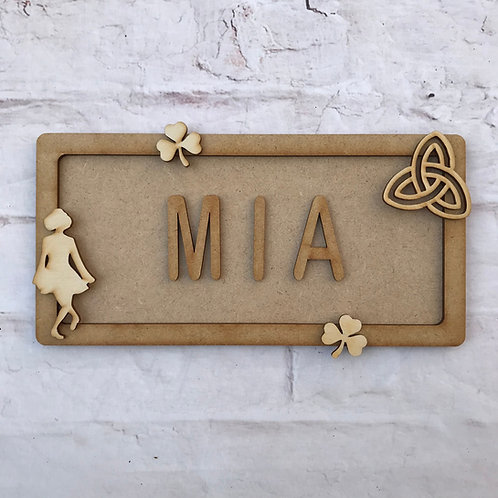Irish Dance Theme Room Sign Small (up to 6 letters)