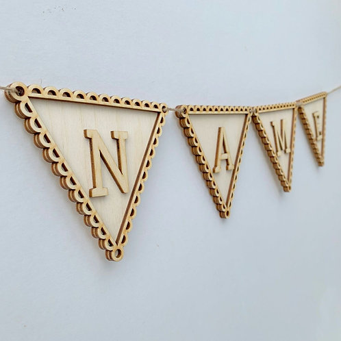Plywood Frame Scalloped Bunting