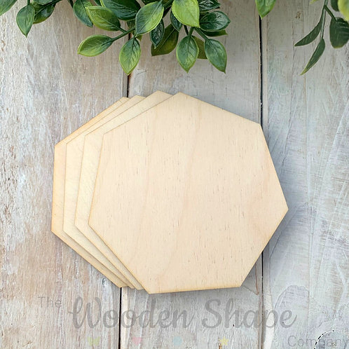 4 Pack Birch Plywood Heptagons
