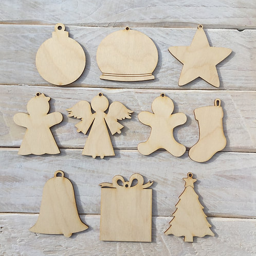 10 Pack Christmas Decorations Assorted Shapes