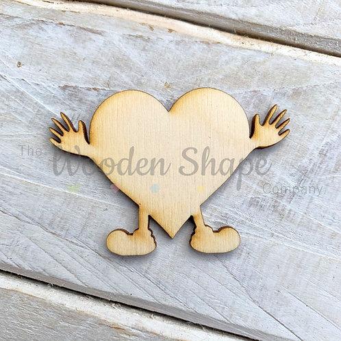 Plywood Heart Hands Hug Shape 10 Pack