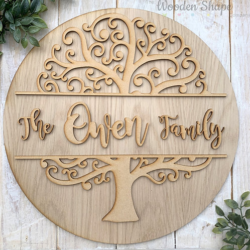30cm OAK Circle with 2 Piece Family Tree Family Sign