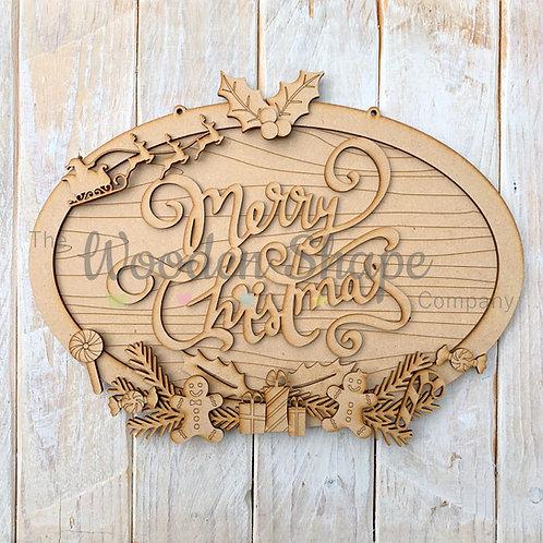 Layered Christmas Oval Merry Christmas Sign