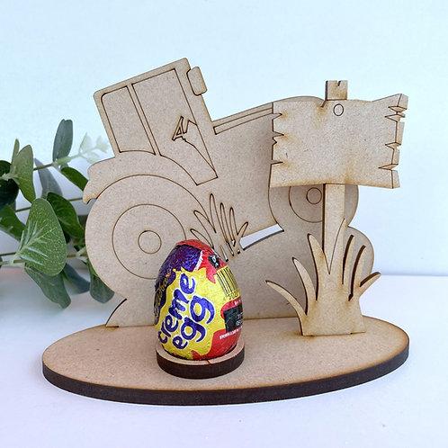 MDF Easter Egg Holder Stand Creme/Kinder Egg Tractor